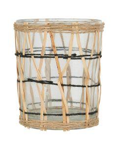 Fyrfadsstage m/bambusflet - 9x7cm