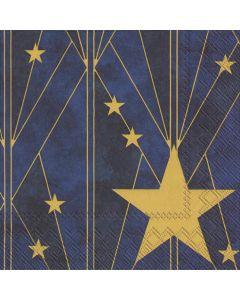 IHR Frokostserviet 33x33cm 20stk - Artdeco Star Blå