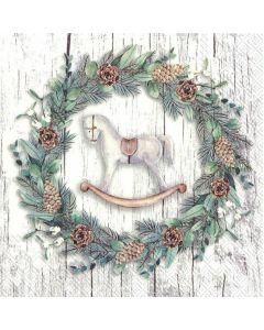 IHR Frokostserviet 33x33cm 20stk - Xmas Wreath Grå