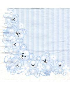 Bækkelund 3-lags servietter - 33x33 cm - 20 stk bamser blå