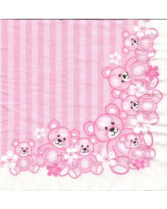 Bækkelund 3-lags servietter - 33x33 cm - 20 stk bamser rosa