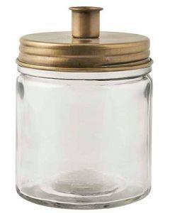 Lysestage t/bedelys glas/metal - Messing