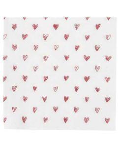 Ib Laursen serviet 33x33 Røde hjerter 3lags 20stk