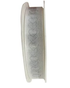 Bånd 15mm x 10m - Hvid m/sølv hjerter