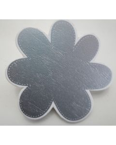 Bordkort - Blomst i træ sølv m/klemme Ø6,7cm