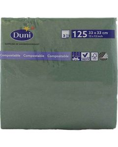 Duni serviet 33x33cm 3-lags 125stk - Mørkegrøn