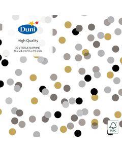 Duni kaffeserviet 24x24 20stk - Dream Dots Black