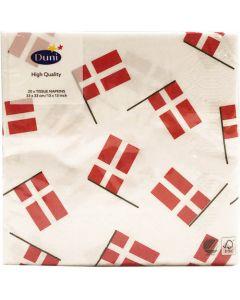 Duni serviet 33x33 3lags 20stk - Danske Flag