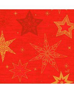 Duni serviet 33x33 50stk - Star Stories rød