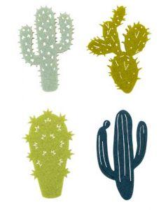 Kaktus filt 16stk - Petrol/Grøn