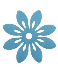 Blomst filt Ø12cm 6stk - Turkis