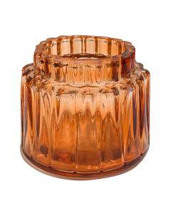 Fyrfadsstage Glas m/riller - Orange