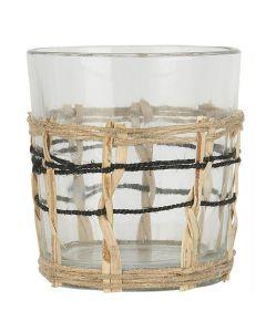Fyrfadsstage glas m/bambusflet