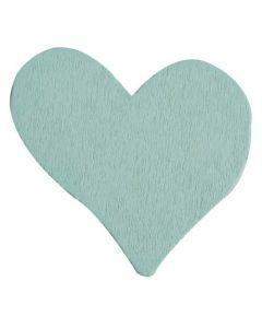 Hjerte i træ - Mint blå