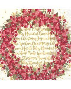 IHR Cynthia Wreath Cream 33x33cm serviet - 20stk