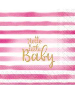 IHR Hello Little Baby light rose serviet 33x33cm 20stk