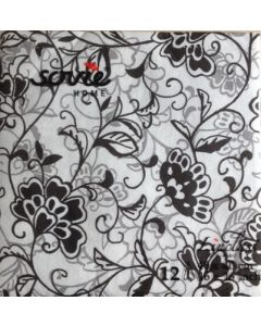 Sovie home tekstil serviet  - 40x40 cm - 12 stk Liv sort/hvid