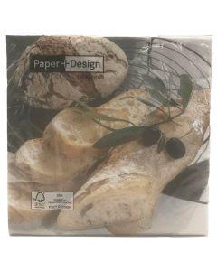 Duni frokostserviet 33x33cm Fresh Bread 3-lags 20stk