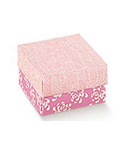 Æske In rosa med blomster 60x60x35mm 10stk