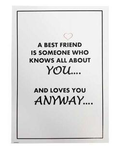 "Kort 15x21cm Hvid ""A Best Friend"""