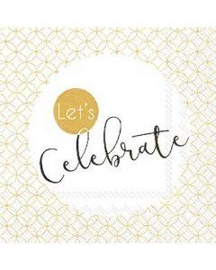 IHR serviet 24x24 Let's Celebrate Gold 3lags 20stk