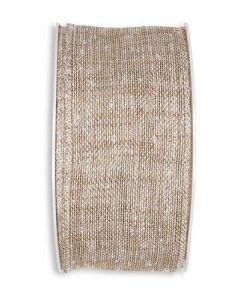 Linen Look bånd 5cm x 8m - Natur