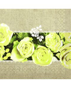 Mank stofligende serviet 40x40cm 50stk - Lovely Roses Gul