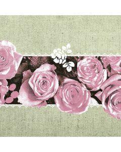 Mank stofligende serviet 40x40cm 50stk - Lovely Roses Rosa