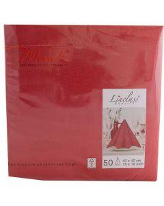 Mank stofligende serviet - 40x40cm - 50stk Rød
