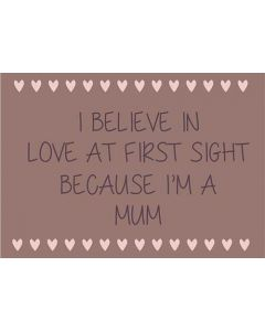 Metalskilt - I believe in love at first sight because I'm a mum