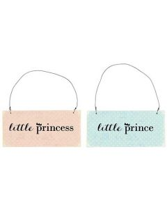 Metalskilt Assorteret - Princess/Prince