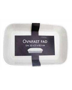 Ildfast fad 36x23 cm - Hvid