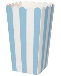 Duni Popcorn Bæger Stribet 6stk - Lyseblå