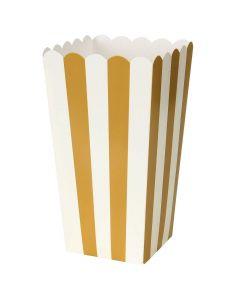 Duni Popcorn Bæger Stribet 6stk - Guld