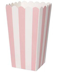 Duni Popcorn Bæger Stribet 6stk - Lyserød