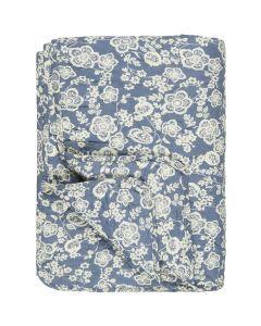 Quilt Tæppe Blå m/blomster