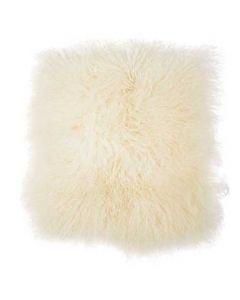 Tibetansk sædeskind 40x40cm - Hvid/Creme